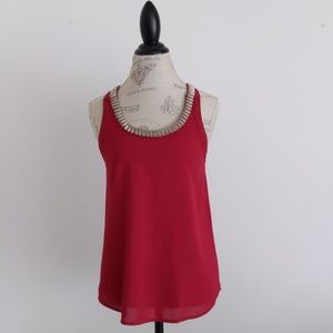 Paper Crane Red Sleeveless Blouse